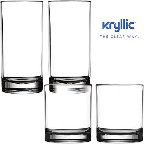 Kunststoffbecher Trinkglas Acrylglas Plastikbecher Mehrweg - Kryllic 4 Plastik Becher Set Trinkbecher Plastik Acryl Glas Kunststoff Becher Wasserglas Camping Tasse Becher Plastik Whiskey Glas