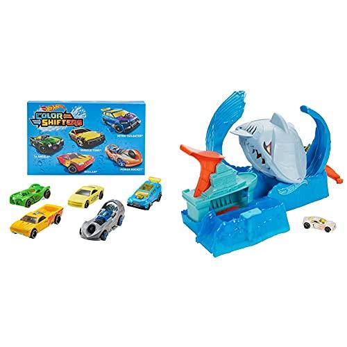 Hot Wheels Shifters Pack De 5 Coches Que Cambian De Color, Modelo Surtido (Mattel Gmy09) + City Pista De Coches De Juguete Salto De Tiburón Color Shifter (Mattel Gjl12)