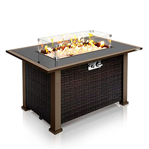 Outdoor Propane Fire Pit Table - CSA Approved Safe 50,000BTU Auto-Ignition Propane Gas Fire Table - Rattan Panel, Glass Wind Guard, Black Tempered Glass Tabletop, Clear Glass Rock - SereneLife SLFPTL