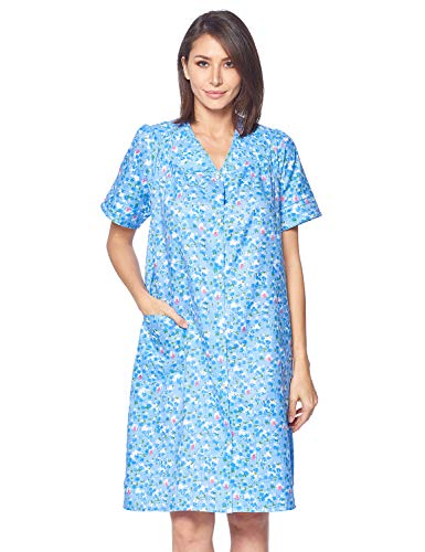 Casual Nights Women's Snap front House Dress Short Sleeve Woven Duster Housecoat Lounger Robe, Floral Blue, Large