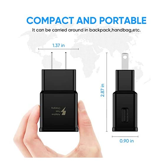 Adaptive Fast Charging Wall Charger Adapter Compatible Samsung Galaxy S6 S7 S8 S9 S10 / Edge/Plus/Active, Note 5,Note 8, Note 9,LG G5 G6 G7 V20 V30 ThinQ Plus EP-TA20JBE Quick Charge (2 Pack) 3 Fast charging compatible with: Samsung Galaxy S6/ S6 edge/ S6 Plus/ S6 Active/ S7/ S7 edge/ S7 Plus/ S7 Active/ S8/ S8 Plus/ S8 Active/ S9/ S9 Plus/ S9+/ S10/ S10 Plus/ S8/ S8+/ Note 8/ Note 9, LG G5 G6 G7 V20 V30 ThinQ plus and other quick charger 2. 0 ( QC2. 0 )Supported devices. ( Samsung fast charger ) Adaptive fast charge: adaptive fast charger Charge for 30 minutes, up to 50% battery level, 75% faster than standard chargers. Perfect design: Lightweight, compact design that fits your storage requirements. You can take it when you travel, make it easy to charger your smartphones specification: Input 100-240V/ output 9V = 1. 67a or 5. 0V = 2. 0a.