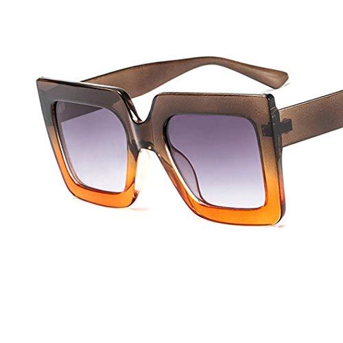 NJJX Gafas De Sol Cuadradas Retro De Gran Tamaño Para Mujer,Anteojos DegradadosTransparentes, Gafas DeSol Con Montura Grande DeLujo,Sombras Greycoffee