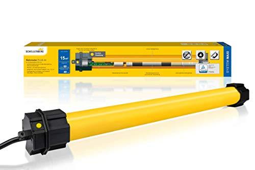 Schellenberg 20740 Rolladenmotor Maxi Plus 40 Nm, elektronische Endlageneinstellung, bis zu 15 m² Fläche, Rohrmotor für 60 mm Welle, Komplettset inkl. Wandlager