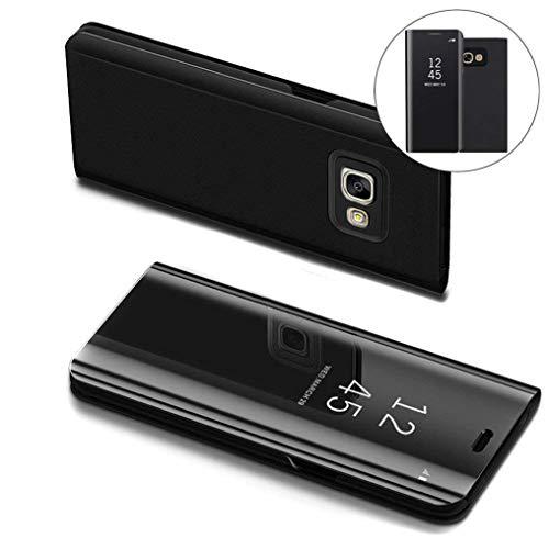 COTDINFOR Samsung J7 Prime Hülle Ledertasche Handyhülle Slim Clear Crystal Spiegel Flip Ständer Etui Hüllen Schutzhüllen für Samsung Galaxy On7 2016 / J7 Prime SM-G610 Mirror PU Black MX.