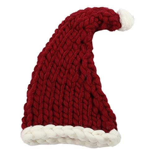 ZHANGXXX Moda Nuovo Cappello di Babbo Natale Cappello di Natale Lavorato a Maglia Cappello di Natale Lavorato a Maglia di Lana Morbida Decorazione della vigilia di Natale Vino Rosso