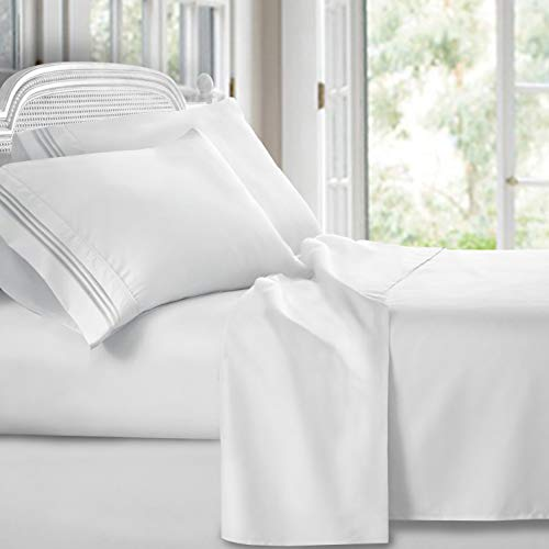 Clara Clark Premier 1800Collection Hoja de cama Set, Juego de sábanas 4 piezas, Blanco, Full (Double)…
