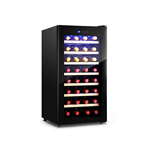MINGDIAN 32 Bottle Compressor Wine Cooler Refrigerator w/Lock | Large Freestanding Wine Cellar | 41f-64f Digital Temperature Control Wine Fridge For Champagne or Sparkling Wine - Black