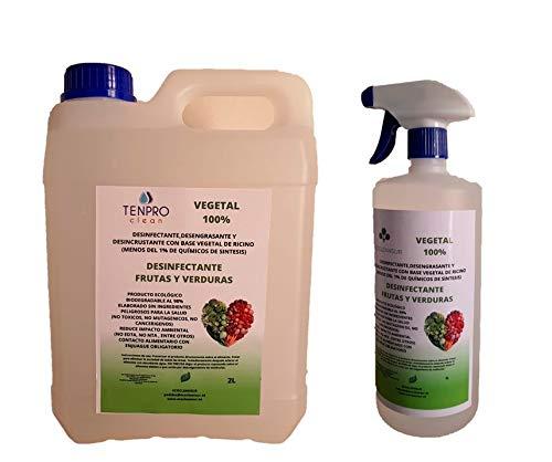 TENPRO CLEAN Desinfectante para Frutas y Verduras. Producto 100% Vegetal a Base de bioetanol y ricino. Sin lejía, no toxico. 2+1L ATOMIZADOR