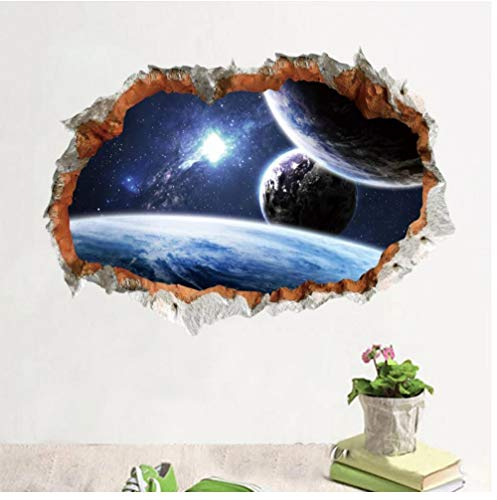 er Space Planet Wall Sticker For Kids Room 3D Effect Scenery Home Decor Galaxy Mural Decals Living Room Decoration