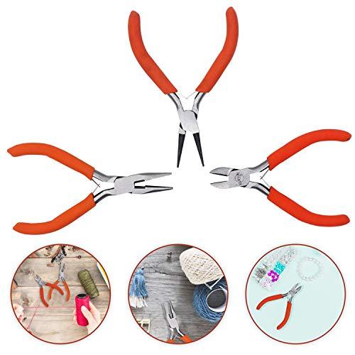 Zangen (3 Teile) - Drahtschneider, Flachzangen und Rundzangen - Hochleistungs Präzisionszangen Set für Elektrowerkzeuge, Heimwerker und Schmuckzubehör - Rutschfester ergonomischer Griff