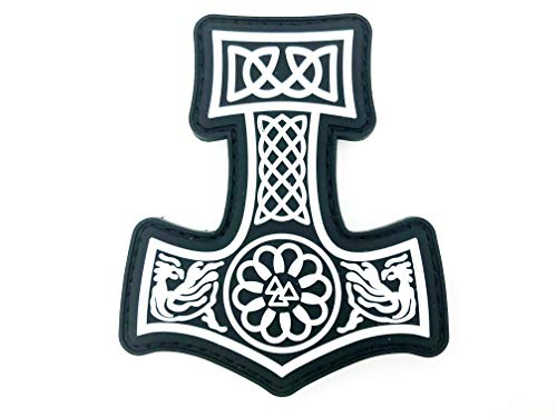 Thors Hammer Viking Wikinger PVC Airsoft Paintball Klettverschluss-Flecken Kader Patch