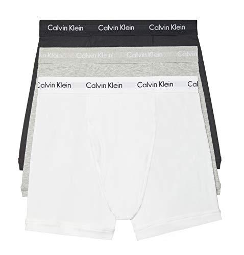 Calvin Klein Herren Boxer Brief 3 Pack Retroshorts, Weiß, Schwarz, Grau meliert, Large (3er Pack)