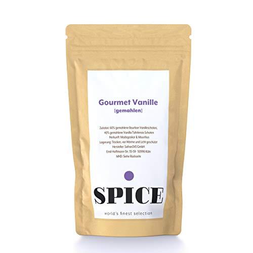 Gourmet Vanille gemahlen (25 g) - 60% Bourbon Vanille & 40% Vanille Tahitiensis, hochwertiges Vanillepulver (gemahlene Vanilleschoten), Herkunft: Madagaskar & Papua-Neuguinea