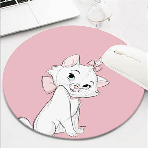 Computer Gaming Mouse Pad Waterproof Non-Slip Rubber Material Round Mouse Mat for Office and Home(8 Inch)-Aristocats Shy Marie cat