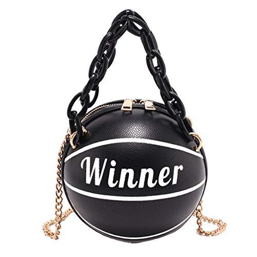 Damen Basketball Runde PU Leder Schulter Crossbody Tasche Tote Kette Satchel Utility to Use