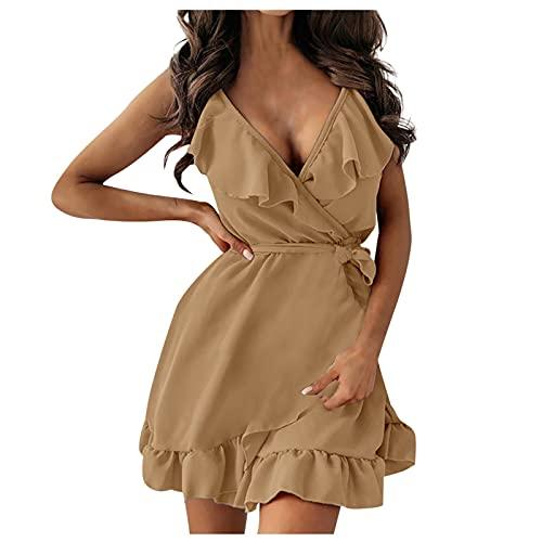 Liably Vestido de verano para mujer, con tirantes, monocolor, cuello en V, cintura alta, con encaje, sexy, sin mangas, para el tiempo libre, para fiestas, para la playa caqui M