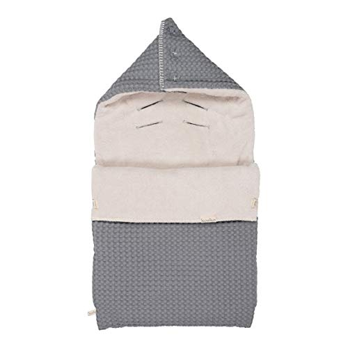 Koeka Babyfußsack - Fußsack Für Babyschale - Baby Schlafsack - Für Maxi-Cosi - Oslo - Waffelgeprägte Baumwollstoff - Mit Teddy Gefüttert - Waschbar - Grau/Kiesel - Einheitsgröße