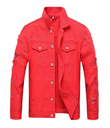 Men's Distressed Denim Jacket Ripped Jean Coat Jacket (Red, XL)