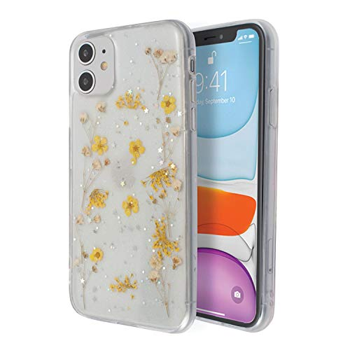 Floral Case Compatible with iPhone 11 (6.1 inch), Glitter Small Pressed Dried Real Flowers Soft TPU Cover for Teen Girls Womens Yellow, by Insten
