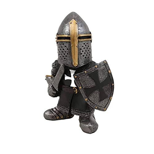 Garde de Gnomes de Chevalier, Figurine de croisé templier de Croix, Grand Costume d'armure Miniature européenne Chevaliers Sculpture Decor, décoration de pelouse d'art de Cour (C)