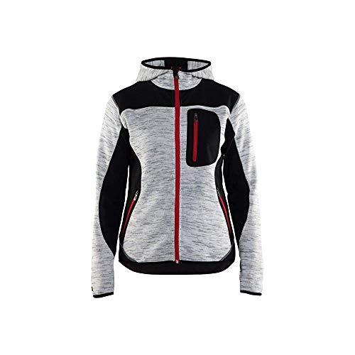 Blakläder 493121179099S Damen Strickjacke mit Softshell-Verstärkungen Größe S in grau melange/schwarz, S