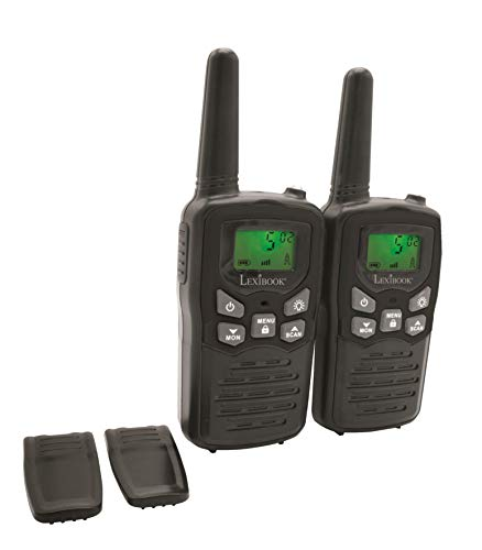 LEXIBOOK exte Par de walkie talkies, Rango transmisión de 8km, Sonido Digital, Juego de comunicación para Interiores y Exteriores, Clip para cinturón, Color Negro & Azul, TW58, Negro, Azul