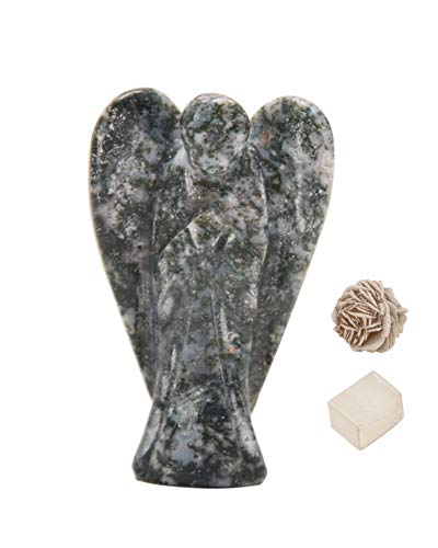 Natural Moss Agate Reiki Carved Spiritual Gemstone Guardian Pocket Angel Healing | Crystal Therapy | Rose Desert Selenite | Cube Selenite' 2 inches Approx - Blessfull Healing