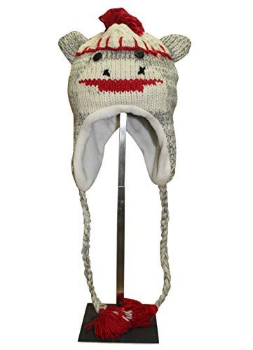 Sherpa Love Hand Knit Unisex Wool Animal Beanie Hat Cap Ear Flap Fleece Lined Nepal (Baby, Sock Monkey)