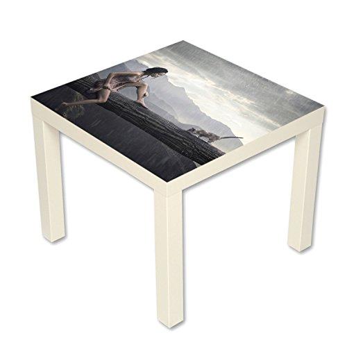 B-wie-Bilder.de bijzettafel salontafel met motief romantiek kat zomerregen wit