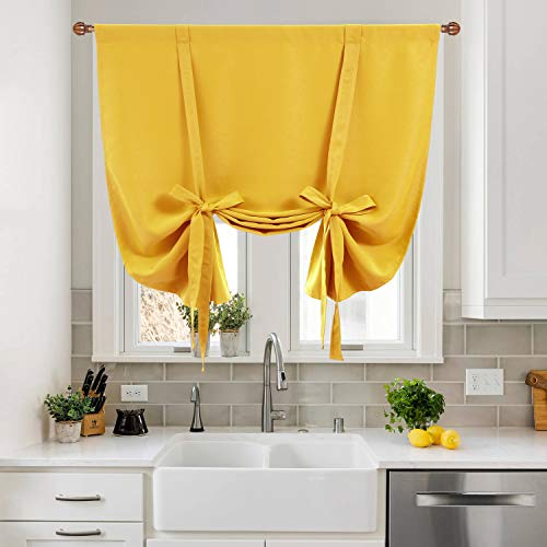 DWCN Tie Up Curtain-Thermal Insulated Room Darkening Blackout Curtains for Kitchen, Bedroom and Bath Room, Yellow, W42 X L63 Inches, 1 Rod Pocket Panel