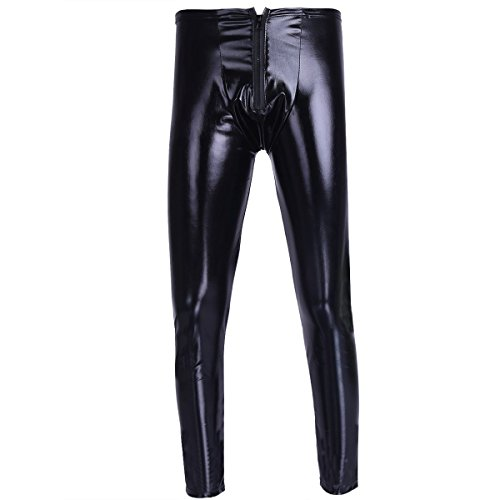 iiniim Herren Hosen Leggings Männer Lederhose Wetlook Glanz Tight Pants Clubwear Tanz Cosplay Kostüme M-XXL Schwarz XL
