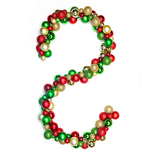 Costyleen 6 Feet Christmas Garland Balls Decorations Outdoor Indoor Home Party Xmas Tree Decors Decorative Wreath Ball Ornaments Red Gold Green
