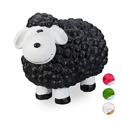 Relaxdays Gartenfigur Schaf, Tierfigur, frostsicher, wetterfest, handbemalte Gartendeko, innen & außen, Keramik, schwarz