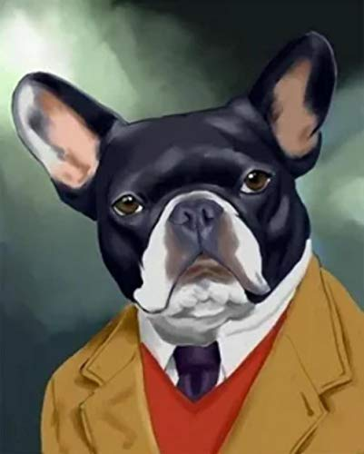DIY Paint by Numbers for Adults French Bulldog in a Suit Digital Oil Canvas Painting Kits for Adults Children Kids Birthday Wedding New Accommodation Decorations Gifts