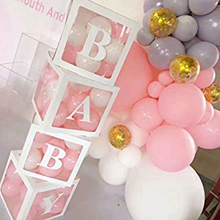 Baby Shower Boxes Party Decorations � 4 pcs Transparent Balloons D�cor Boxes with Letter, Individual BABY Blocks Design for Boys Girls Baby Shower Bridal Showers Birthday Party Gender Reveal Backdrop