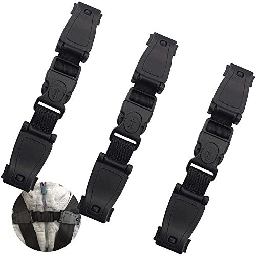 Cinturón De Seguridad Para Silla De Auto 3piezas Cinturón De Seguridad Para Sujetar Niño Negro Clip Silla De Coche Para Niños Para Evite Que Los Niños Saquen Los Brazos Del Cinturón De Seguridad Negro
