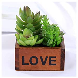YUAOO Artificial Succulents Plants Artificial Flowers Bonsai with Wooden Pot Plastic Faux Green Grass for Outdoor and Indoor Wedding Office Home Decoration