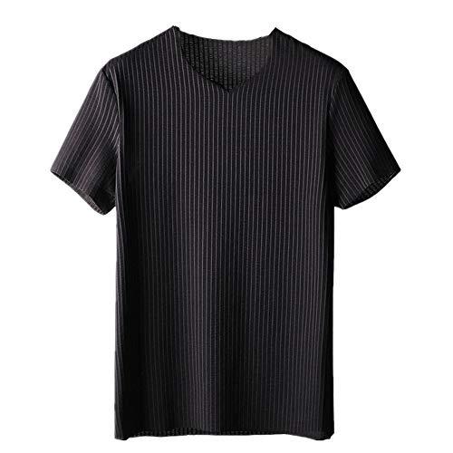 NOBRAND Camiseta de manga corta para hombre sencilla vertical granulado