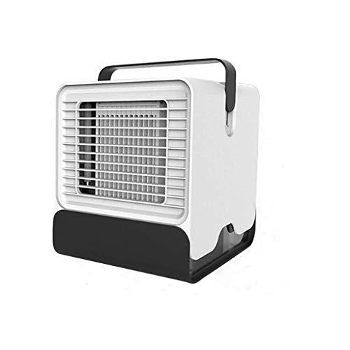 LHY NEWS Mini Ventilador para Escritorio Silencioso, Mini Acondicionador De Aire Portátil Compacto Mini Aire Acondicionado Luz Nocturna LED,Blanco