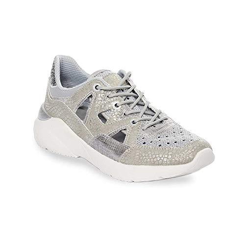 Zapatilla Sneaker Yumas Natacha Plata Fabricado en Nylon Perforado y Microfibra Plantilla Confort Latex para Mujer