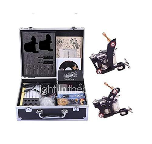 Kit de tatuaje profesional para máquina de tatuajes, 2 unidades, hecho a mano, ajuste relajado y tensión, fuente de alimentación LCD ajustable 2 de acero