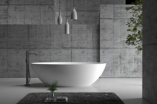 Freistehende Badewanne aus Mineralguss RIO STONE weiß - 180 x 85cm - Wählbar in Matt oder Hochglanz, Ausführung:Matt