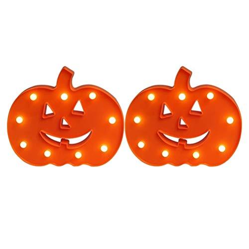 Mobestech 2 Piezas Halloween Calabaza luz LED luz Nocturna Mesa lámpara de Pared Accesorios para Halloween Horror Ghost temática Fiesta Supplies (sin batería)