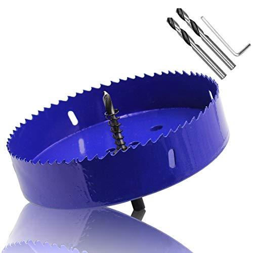 ZXHAO 6.3 inch 160mm Hole Saw, 1 1/4 inch Cutting Depth HSS Bi-Metal Hole Cutter with Hex Shank Drill Bit Adapter for Wood Cornhole Boards Plastic Drywall Fiberboard