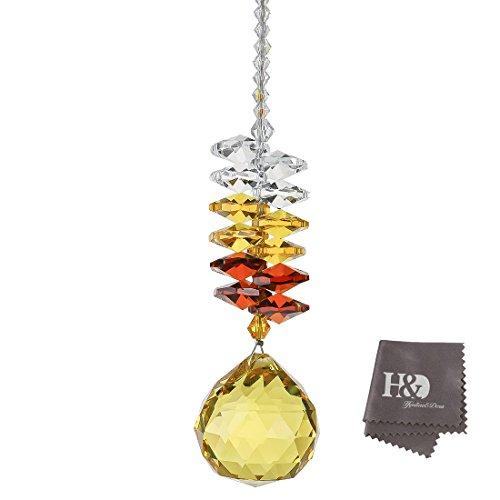 H&D kroonluchter-ornamenten om op te hangen, kristallen stenen, prismavorm, regenboogeffect, 30 mm goudkleurig