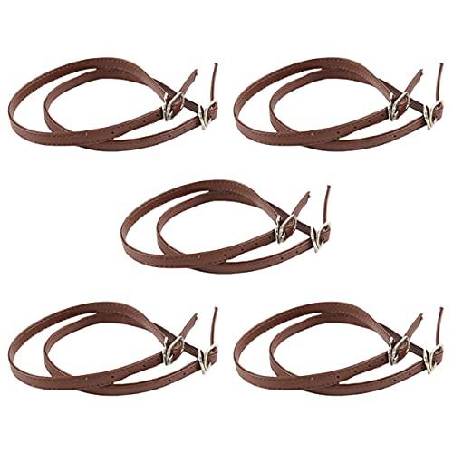 Ewanda store 5 Pairs Women Lady High Heeled Shoe Bungee Shoelaces,Boat Shoe Anti Slip Shoe Straps with Buckle(Brown)