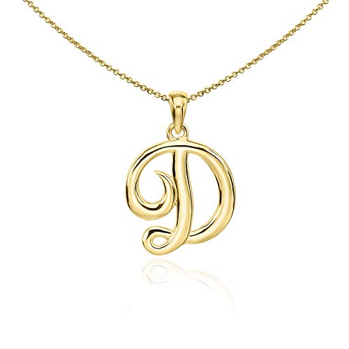 Sea of Ice Gold Flashed Sterling Silver Initial Alphabet Letters D Pendant Necklace, 18 inch