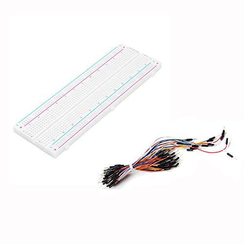 JJBHD Electronic Accessoires & Supplies Testentwicklung DIY 830-Punkt Lötlose PCB-Breadboard für MB-102 MB102 mit 65 stück männlich zu männlichen Breadboard-Drähten Jumper-Kabel-Drahtbrotbrett-Drähte