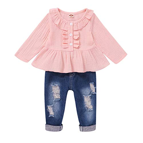 Toddler Baby Girl Outfits Long Sleeve Linen Shirt Cute Ripped Jeans Kids Denim Pants Set Winter 12-18 Months Girl Clothes