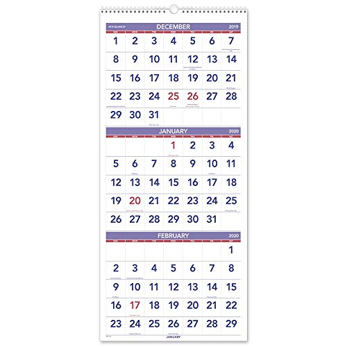 AT-A-GLANCE 2020 Wall Calendar, 3-Month Display, 12 x 27, Large, Wirebound, Vertical (PM1128)